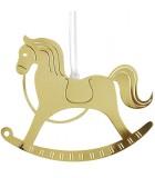 Cheval à bascule design en métal doré à suspendre