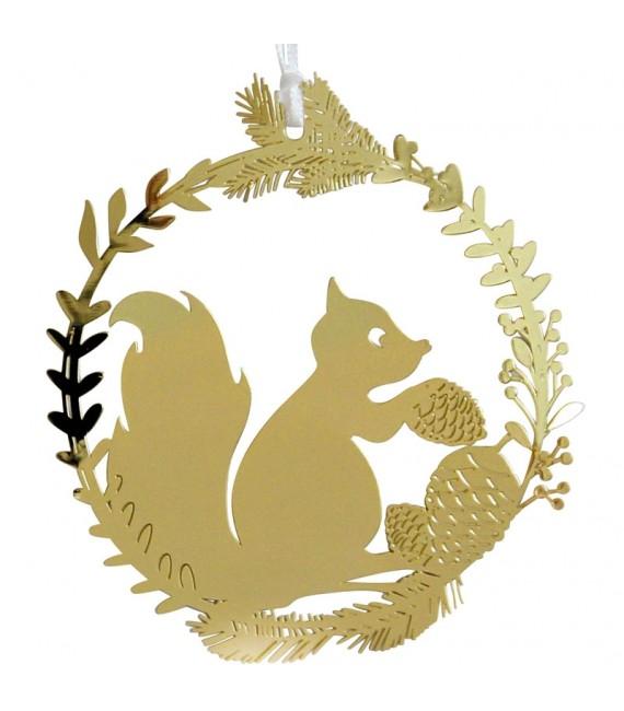Ecureuil en métal doré à suspendre