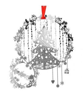 Sapin argenté et cadeaux de Noël à suspendre