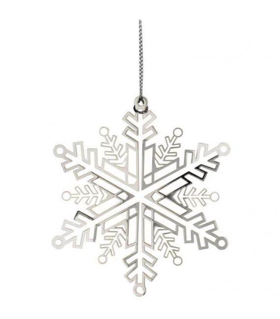 Flocon de neige design en métal couleur argent à accrocher