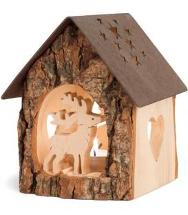Lanterne photophore en bois avec cerf, 14 cm