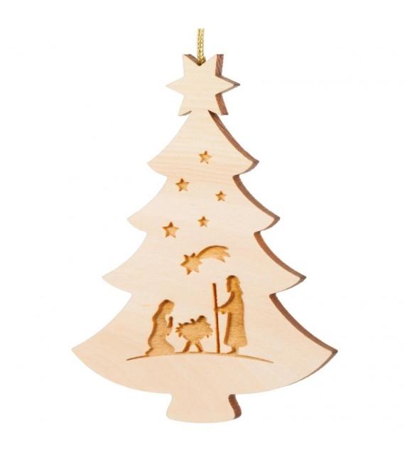 Pendentif sapin de Noël en bois, crèche de Noel