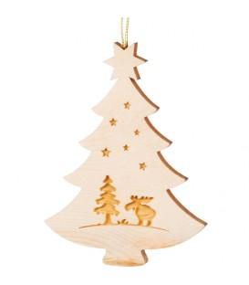 Pendentif sapin de Noël en bois, élan