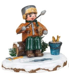 Village de Noël miniature, figurine enfant pêcheur à la ligne