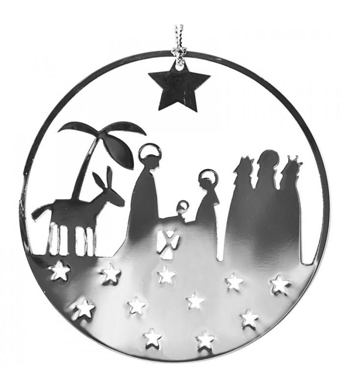 Déco de Noël Scandinave   Crèche de Noël design à suspendre argent