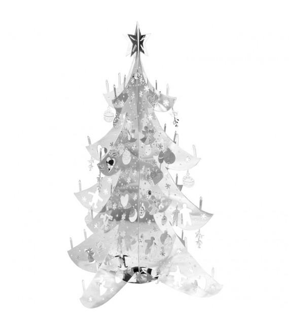 Sapin de Noël design, métal argenté, 12 cm