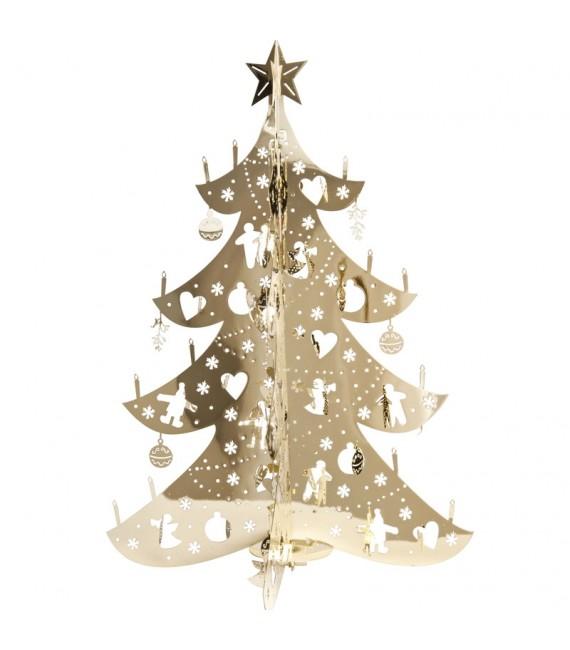 Sapin de Noël design, métal doré, 12 cm