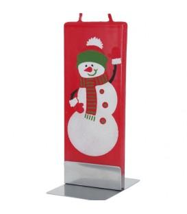 Bougie rouge bonhomme de neige qui salue