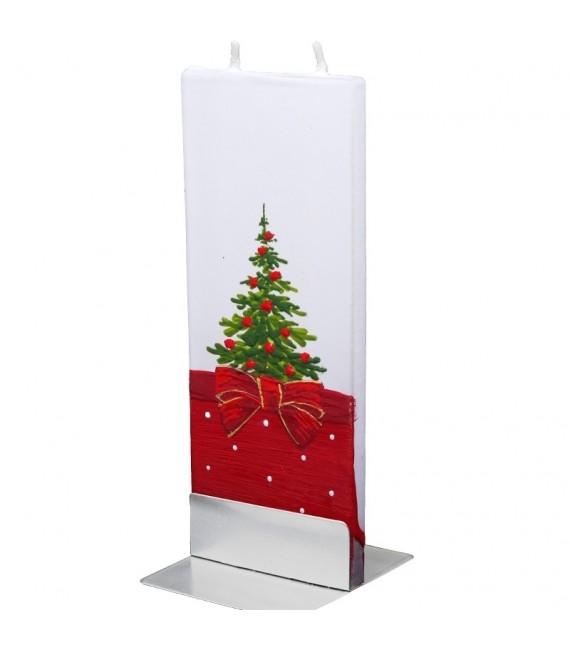 Bougie de Noel décorative motif sapin avec ruban rouge