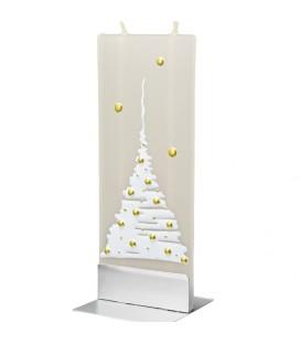 Bougie design motif sapin de Noël blanc et boules dorées