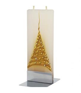 Bougie design de Noel décorative, sapin doré et boules