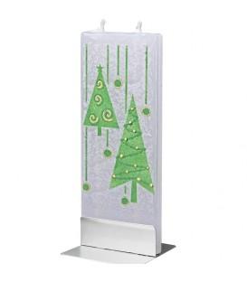 Bougie de Noel design sapin vert et guirlandes de Noël
