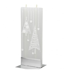 Bougie design décorative motif sapin blancs de Noël