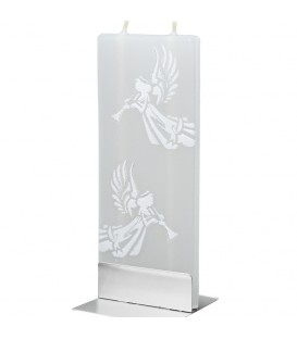 Bougie design motif anges blancs et flute