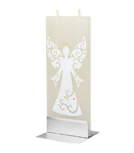 Bougie déco motif ange de Noël blanc