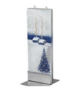 Bougie déco de Noel motif maisons sous la neige