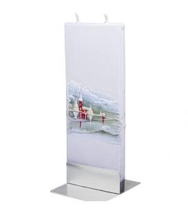 Bougie déco de Noel motif église sous la neige