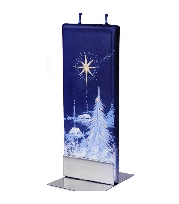 Bougie déco de Noel motif nuit d'hiver étoilée