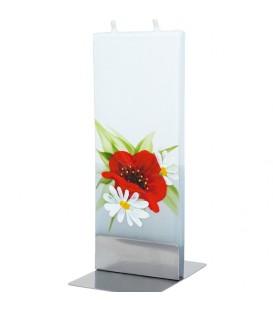 Bougie décorative motif fleur de coquelicot