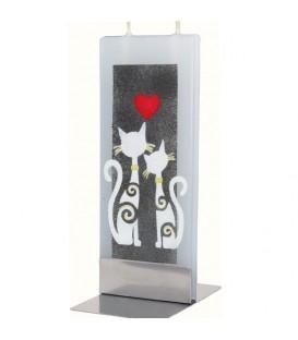Bougie décorative motif chats et coeur
