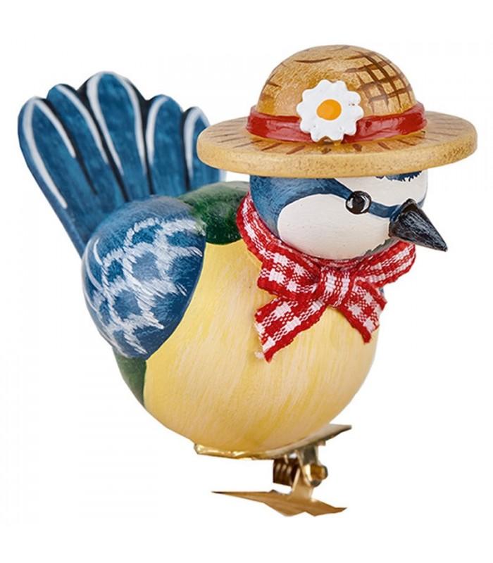 Oiseau décoratif bois - Mésange bleue et noeud rouge, 6 cm on