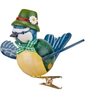 Oiseau décoratif, mésange bleue et noeud vert, 6 cm