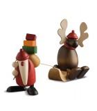 Père Noël en bois avec élan sur luge