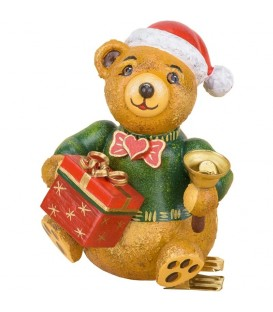 Déco sapin vintage, ourson et paquet cadeau
