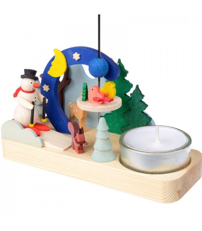 Carrousel de Noël  Manège de Noel en bois avec bonhomme de neige