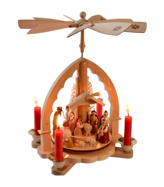 creche de Noel illuminée bougies
