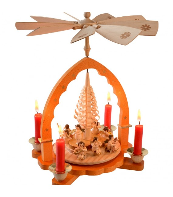 Pyramide à bougies et anges en bois musiciens