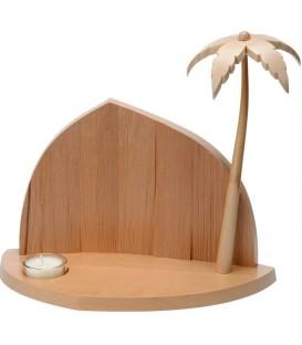 Crèche de Noël à fabriquer, avec bougeoir et palmier, 25 cm