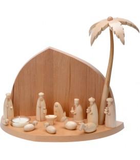 Grande crèche de Noël en bois avec bougeoir