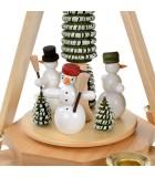 Manège de Noël en bois bonhommes de neige