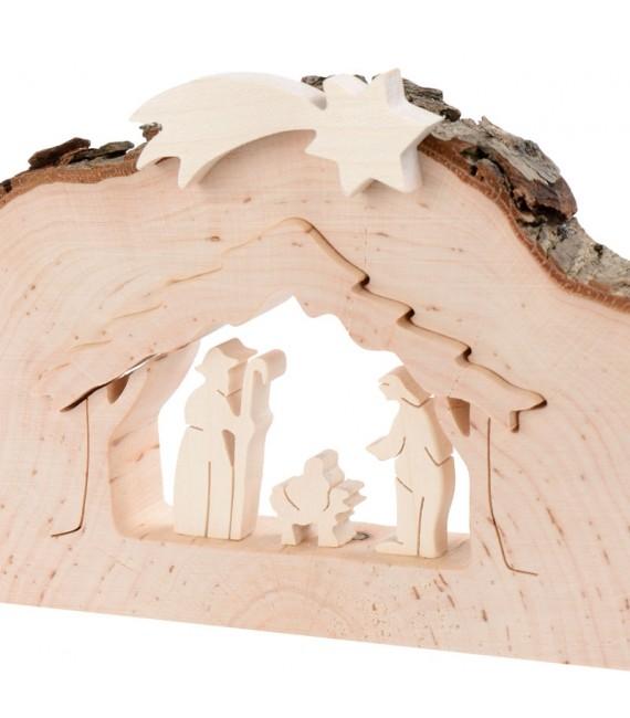 Crèche de Noël demi ronde avec figurines ciselées, 8,5 cm