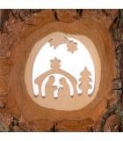 Crèche à poser en écorce de bois avec étoile filante, 11 cm