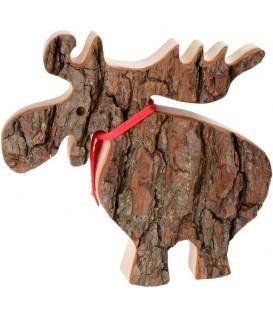 Grand élan en bois avec noeud rouge 18 cm