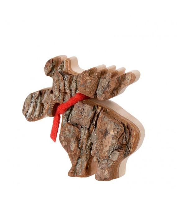 Petit élan en bois avec noeud rouge 8 cm
