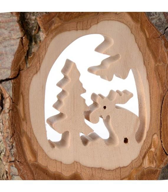 Déco bois en écorce, motif élan dans la forêt, 11 cm