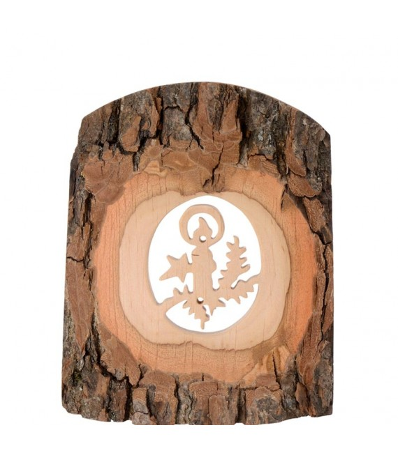 Déco bois en écorce, motif bougie, 11 cm