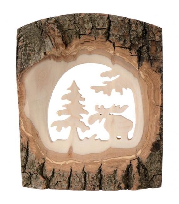 Déco bois en écorce, motif élan dans la forêt, 18 cm