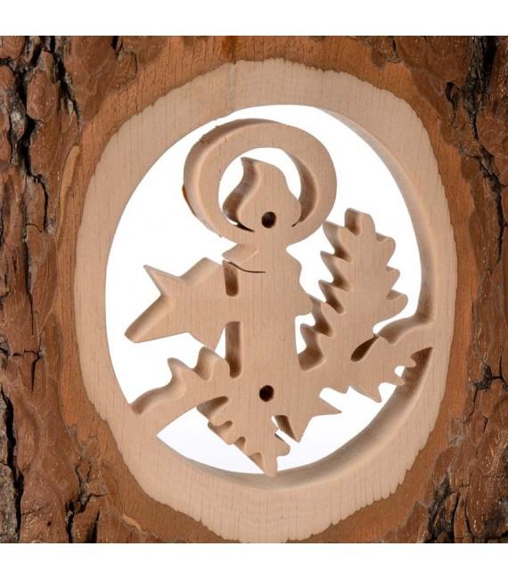 Déco bois en écorce, motif bougie, 18 cm