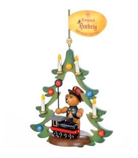 Décoration sapin de Noël vintage, ourson chef de gare