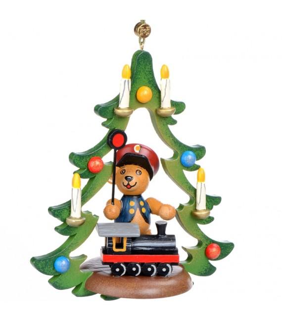 Décoration Noël Vintage, ourson chef de gare