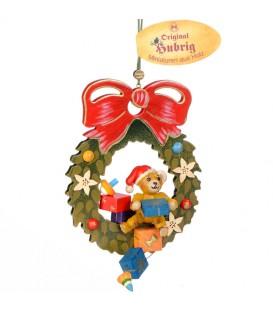Décoration sapin de Noël vintage, ourson dans couronne