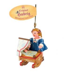 Décoration sapin de Noël vintage, fillette et poupée