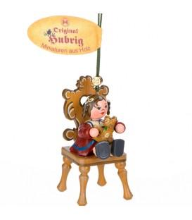 Décoration sapin de Noël vintage, figurine fillette et ourson