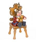 Noël d'antan, figurine fillette et ourson à suspendre au sapin