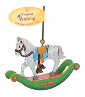 Décoration sapin de Noël vintage, cheval à bascule en bois
