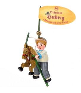 Décoration sapin de Noël vintage, petit garcon sur un cheval en bois